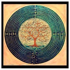 """Laberint"", Egg tempera and gold (100x100cm) Labyrinth Garden, Labyrinth Maze, Labyrinth Tattoo, Animal Reiki, Labrynth, Life Symbol, Photos Voyages, Ancient Symbols, Land Art"