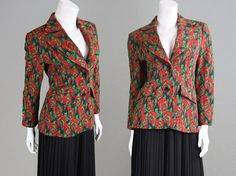Vintage 70s Floral Print Womens Blazer Fitted by ZeusVintage