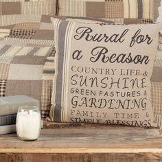 VHC Brands Farmhouse Bedding Natural Cotton Stenciled Casement Solid Color Square Cover Insert Pillow Creme White