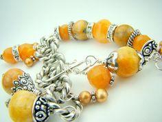 Gold gemstone bracelet chunky charm bracelet by strandsofgrace