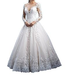 2650ac4b166 New Jdress Women s Lace Wedding Dresses for Bride 2018 Ball Gowns Long  Sleeves online.