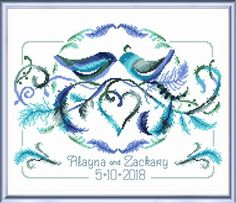 Love Birds Wedding - cross stitch pattern by Imaginating - A charming wedding sampler with two little birds, hear and feathers. Cross Stitch Heart, Cross Stitch Samplers, Counted Cross Stitch Patterns, Cross Stitching, Cross Stitch Embroidery, Embroidery Patterns, Diy Embroidery, Modern Embroidery, Wedding Cross Stitch Patterns