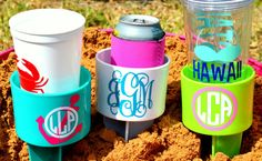 Set of 3 Monogram Beach Spike Beverage Holder-so perfect for your drink while you're sitting in the sand at the beach!