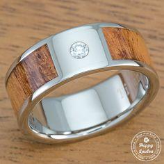 Titanium Diamond Ring with Hawaiian Koa Wood Inlay - Flat Shape, Standard Fitment by Happy Laulea Titanium Wedding Rings, Titanium Rings, Wedding Ring Bands, Black Tungsten Rings, Flat Shapes, Wood Rings, Engraved Rings, Blue Rings, Hawaiian