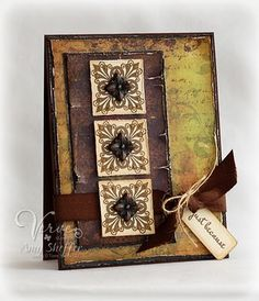 Grunged Rustic Elegance Card...with torn edges...by Pickled Paper Designs.