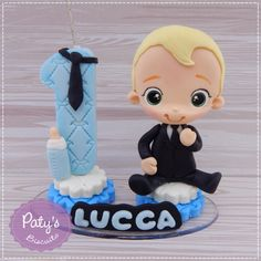 Topinho com vela O Poderoso Chefinho no Elo7   Paty's Biscuit (E0D104) Number Cake Toppers, Number Cakes, Boss Baby, Thing 1, Baby Shark, Kawaii, Smurfs, Biscuits, Diy And Crafts