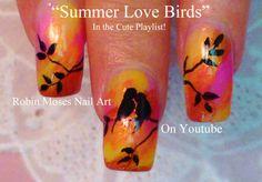 "Robin Moses Nail Art: ""bird nails"" ""bird nail art"" ""love bird nails"" ""lovebirds"" ""love birds"" ""lovebird nail art"" ""lovebird nails"" ""love bird design"" ""love bird ideas"" bird birds blackbirds black flying"