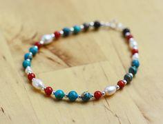 Bracelet perle  turquoise corail agate noire-argent par Xusflu Beaded Bracelets, Etsy, Jewelry, Coral Turquoise, Turquoise Beads, Unique Jewelry, Silver, Jewlery, Schmuck