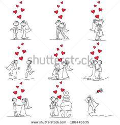 Bride And Groom Cartoon Figures | stock vector : 9 set of cute little cartoon wedding couple doodle
