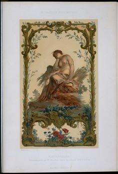 Fontainebleau : panneau peint par Fr. Boucher. Salle du conseil. XVIIIme siècle.