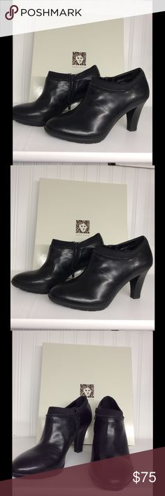 """Black Ankle Booties by Anne Klein Black Ankle Booties by Anne Klein ... beautiful 3 1/4"""" Heel ... side zipper ... accented with a  zipper detail around perimeter of the ankle ... pair these with your skinny jeans or dress and head out! .... all my heels have to go! NIB Excellent condition! Anne Klein Shoes Ankle Boots & Booties"""