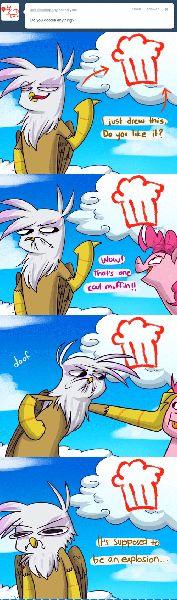 #137273 - animated, ask, comic, explosion, gilda, gilda replies, gravity falls, muffin, pinkie pie, safe, the inconveniencing, tumblr - Derpibooru - My Little Pony: Friendship is Magic Imageboard