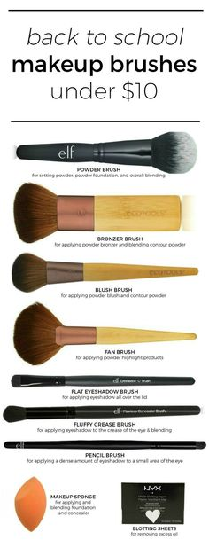 The best makeup brushes under $10 that are perfect for your back to school makeup kit +  the perfect affordable and naturally pretty drugstore makeup looks by beauty blogger Ashley Brooke Nicholas