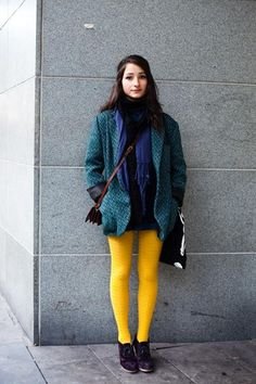 I accidentally brought some yellow tights that were a lot brighter than I intended... maybe I can style them like this...