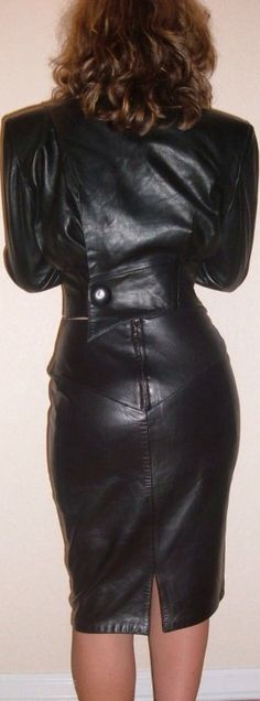 Vintage black leather skirt jacket outfit North Beach Leather style