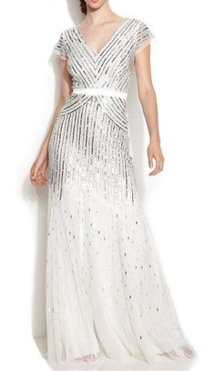 Adrianna Papell Cap-Sleeve Sequined Gown reminds me of the 1920's