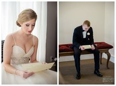 Bride and Groom reading letters to each other at Milestone Krum Wedding by brittanybarclay.com