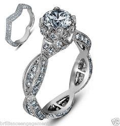 2.50 CT GIA ROUND VINTAGE BRIDAL SET DIAMOND ENGAGEMENT RING