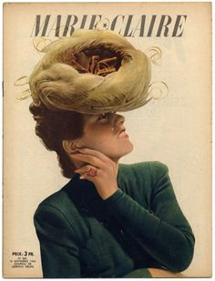 'Marie Claire' magazine, French, 1942. 1940s fashion and hat, magazine cover illustration art.
