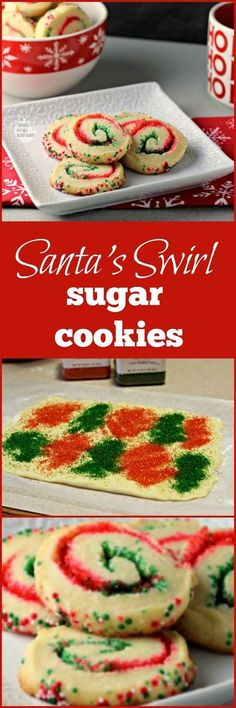 Santa's Swirl Sugar Cookies | by Renee's Kitchen Adventures - Easy holiday cookie recipe that transforms sugar cookies into a festive sweet treat with red and green colored sugars! More
