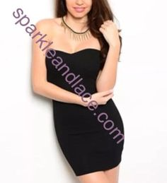 Women Black Sexy Dress Strapless Size Large NWT With Necklace LAST ONE  | eBay