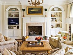 Bookcases and fireplace.
