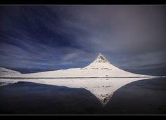 Moonlit Mountain - Kirkjufell at Grundarfjörður, Iceland