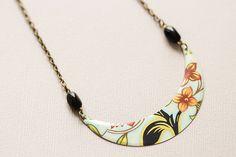 Elegant Floral Bib Necklace Black Coral and by MusingTreeStudios, $18.00 #vintagetin #modernjewelry #handmadejewelry