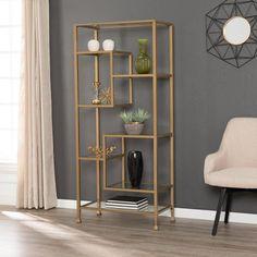 Gold Bookshelf, Gold Shelves, Glass Shelves, Bookshelves, Ladder Bookcase, Living Room Bookcase, My Living Room, Living Room Decor, Dining Room