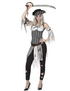 Déguisement pirate zombie femme : Ce déguisement pirate zombie est pour femme.Il se compose d'un haut, d'un pantalon, d'une ceinture, de 2 tours de bras et d'un chapeau (sabre et chaussures non inclus).Le...