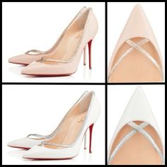 #RedSole #Louboutin Powder pink with pale gold or white leather with glittering silver - Princess is the new Cinderella shoe