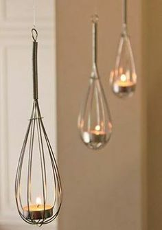 Is this not simple, Great for the garden, hey clean-up and re-use whisk!   Whisk and votive lanterns - or maybe with flowers!