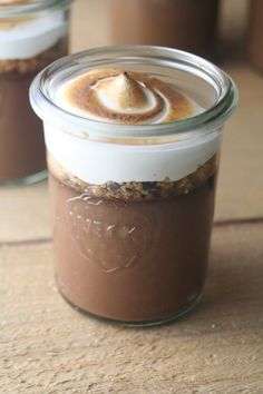 S'mores Pots De Creme....wonder if you could use marshmallow fluff instead of making your own?