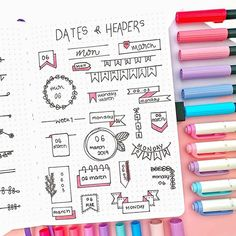 - Shop bujos, brush pens,… Need some dates + headers inspiration? check this page out by ?✨so delicate! Bullet Journal School, Bullet Journal Inspo, Bullet Journal Headers, Bullet Journal Lettering Ideas, Bullet Journal Banner, Bullet Journal Notebook, Bullet Journal Aesthetic, Bullet Journal Ideas Pages, Bullet Journal Markers