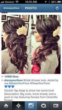 Half updo;down the aisle