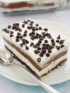 Chocolate lasagna is light and easy, no-bake layered dessert with crushed Oreo, cream cheese and chocolate pudding, topped with Cool Whip and chocolate .