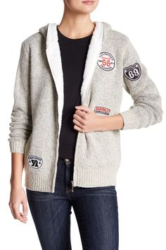 Zip Up Fleece Patch Hoodie by Leibl '38 on @nordstrom_rack