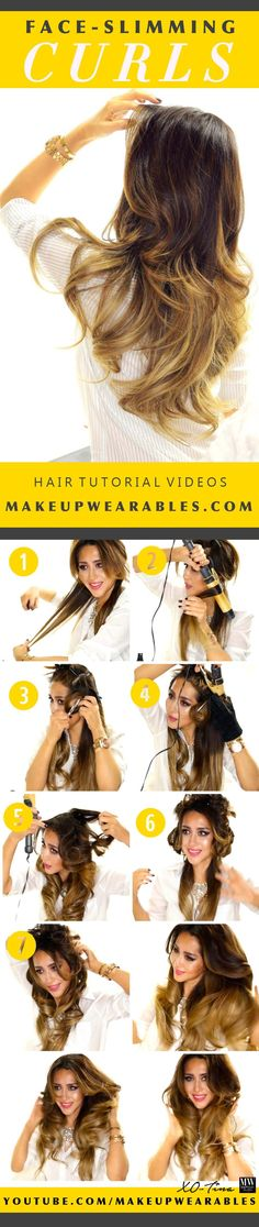 face slimming ombre hairstyles - how to curl your hair & make your face thinner