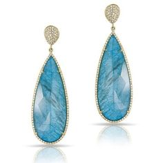 Anne Sisteron  14KT Yellow Gold Blue Apatite Diamond Drop Earrings (70 985 UAH) ❤ liked on Polyvore featuring jewelry, earrings, gold, blue earrings, gold diamond jewelry, gold jewellery, diamond drop earrings and yellow gold earrings