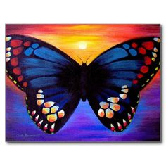Butterfly Painting Art - Multi Postcard