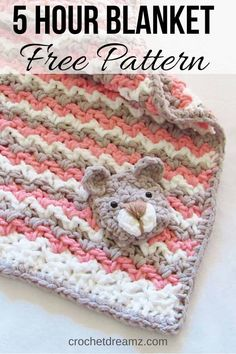 Crochet Baby Blanket Free Pattern Baby Bear Blanket Crochet Dreamz Try this quick and east free crochet baby blanket pattern for a boy or a girl It is a unisex pattern that can be made Crochet Baby Blanket Free Pattern, Easy Crochet Blanket, Afghan Crochet Patterns, Baby Knitting Patterns, Free Crochet, Crochet Baby Cocoon, Beginner Crochet, Knitting Charts, Hat Crochet