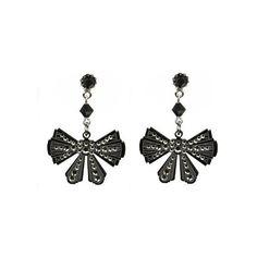 Tarina Tarantino Cotillion earrings (300 RON) ❤ liked on Polyvore featuring jewelry, earrings, black, laser cut earrings, swarovski crystal jewelry, black bow earrings, laser cut jewelry and earrings jewelry