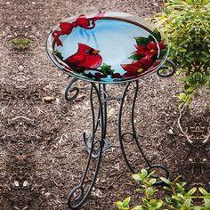 Evergreen Holiday Cardinal and Poinsettia Birdbath W/ Stand https://saffordsportinggoods.com/shop/bird-baths/evergreen-holiday-cardinal-and-poinsettia-birdbath-with-stand/