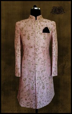 Traditional Wear Embroidered Sherwani Hand Embroidery Pink Sherwani Ethnicwear P Sherwani For Men Wedding, Wedding Dresses Men Indian, Groom Wedding Dress, Sherwani Groom, Wedding Suits, Punjabi Wedding, Indian Weddings, Wedding Couples, Bride Groom