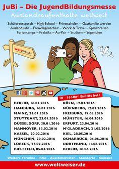 JugendBildungsmesse zu Auslandsaufenthalten Januar bis Juni 2016 - High School - Au-Pair - Freiwilligendienste - Sprachreisen - Work & Travel - Auslandspraktika