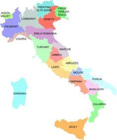 The Regions of Italy: Abruzzo, Aosta Valley, Basilicata, Calabria, Campania, Emilia Romagna, Friuli Venezia Giulia, Lazio, Liguria, Lombardy, Marche, Molise, Piedmont, Puglia, Sardinia, Sicily, Trentino Alto Adige, Tuscany, Umbria, Veneto.