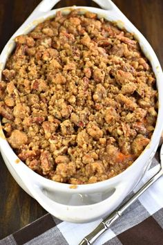 The Best Sweet Potato Casserole recipe is one that's served up sweet and salty with a delicious, crunchy streusel topping! Perfect for holidays! Best Sweet Potato Casserole, Potatoe Casserole Recipes, Sweet Potato Recipes, Thanksgiving Recipes, Thanksgiving Sides, Side Dish Recipes, Side Dishes, Curry Recipes, Cooking Recipes