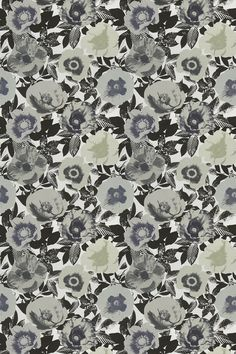 Madone Marble - Prestigious Fabrics - A contemporary fabric with a digital print of large flowers on a black and white background of foliage. Shown here in shades of grey and black. Please request a sample for a true colour match. True Colors, Colours, Black And White Background, Contemporary Fabric, Large Flowers, Shades Of Grey, Print Patterns, Marble Fabric, Digital Prints