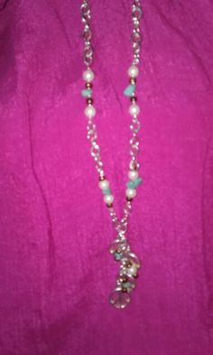 Peace pearls and turquoise necklace