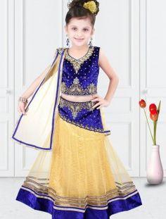 Radiant Beige Net Designer Kids Wear Lehenga Choli